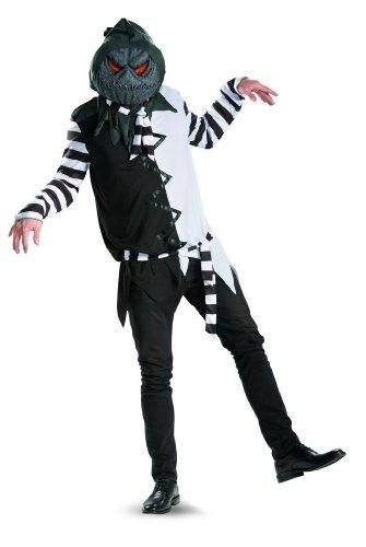 Best Jack Skellington Costume (Disguise Kaleidoscope Creepy Jack-O-Lantern Mens Adult Costume, Black/Green/Orange, XX-Large/50-52)