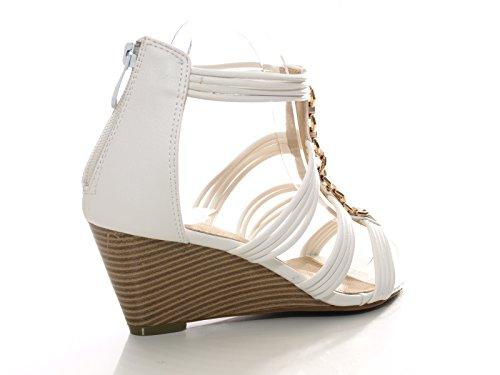 Damen Keilabsatz Sandalen Sandalette Weiß # 9624