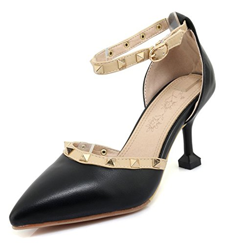 Aisun Women's Studded Sandals With Ankle Strap - Pointed Toe Sexy High Heel - D'Orsay Stilettos Buckled Shoes Black 9FR7iX