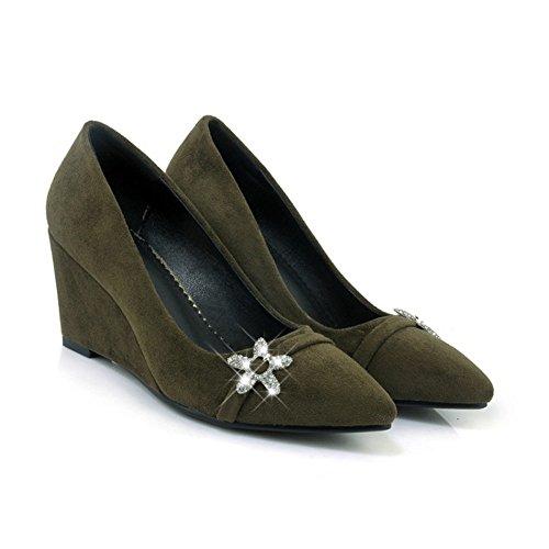 Sólido Green Superficial Boca Tyaw Felpa Tacones Mujer Señaló Zapatos Color zapatos De 1Y1PqnvO