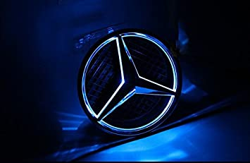 Easybuyrpc - Insignia delantera con luz LED para Mercedes-Benz Clase C, GLK y B, color azul: Amazon.es: Coche y moto