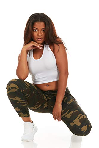 Cover Girl Women's Tall Plus Size Army Style Camo Print Skinny Button or Drawstring Jogger, - Denim Pants Drawstring
