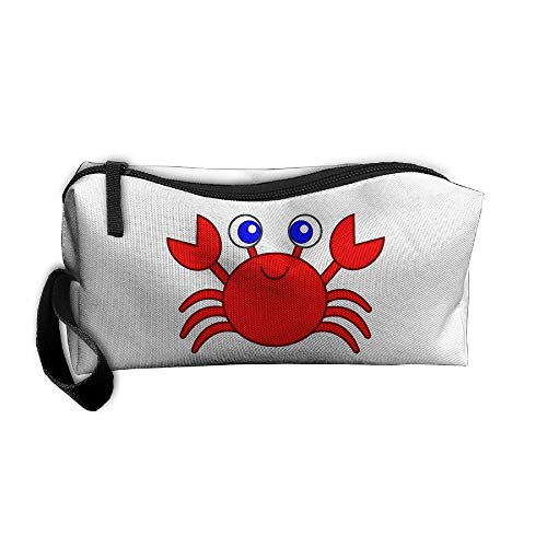 Cosmetic Bags With Zipper Makeup Bag Red Crab Cartoon Middle Wallet Hangbag Wristlet Holder ()