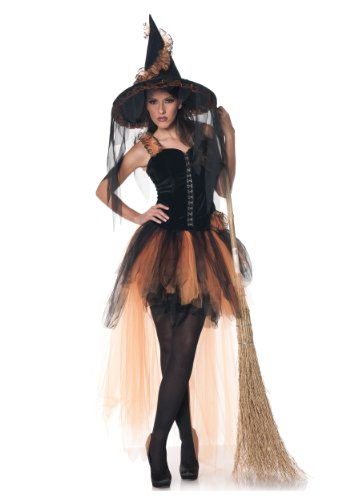 Underwraps Women's Hallow's Eve, Black/Orange, (Spellbound Witch Halloween Costume)