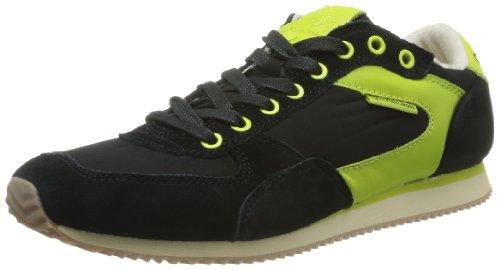 Calvin Klein Jeans MARCEL NYLON/SUEDE/LEATHER S1436 Herren Schnürhalbschuhe Schwarz - Black/Black/Citron