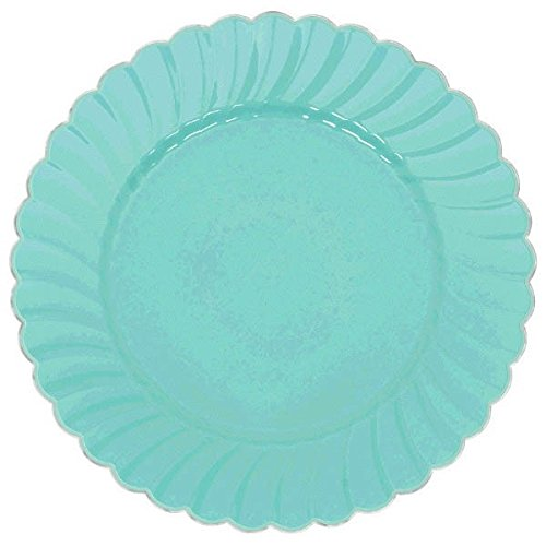 Scalloped Premium Plastic Plates with Metal Trim Spring Party Reusable Tableware (10 Pieces), Robin's Egg Blue, 10