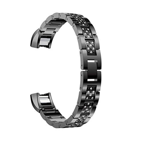 Memela(TM)For Fitbit Alta HR/Fitbit Alta, Women Elegant Luxury Alloy Crystal Bling Wristwatch Bracelet Strap Belt Replacement (A)