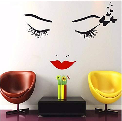 LSFHB Cool Salon Beautiful Buteerflies Girl Wall Mural Girls Face Makeup Lips Eyes Special Vinyl Art Wall Sticker for Home Decor 57X77Cm ()