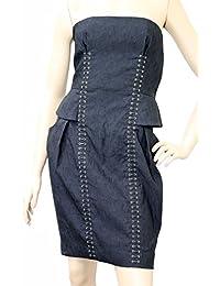 Black Cotton Silk Strapless Bamboo Detail Tie Dress 261842 Size: 38. Gucci