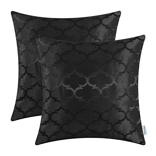 Pack of 2 CaliTime Cushion Covers Throw Pillow Cases Shells for Home Sofa Couch, Modern Quatrefoil Accent Geometric, 18 X 18 Inches, Black (Black Throw Pillows)