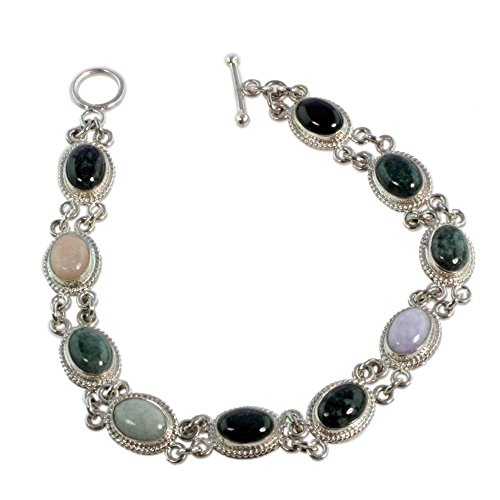 (NOVICA .925 Sterling Silver Jade and Yellow Quartz Cabochon Link Bracelet 'Jocotenango Rainbow', 8