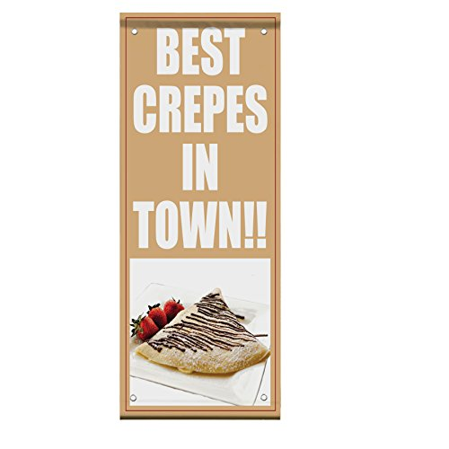 Best Crepes In Town Black And Dark Red Double Sided Vertical Pole Banner Sign 36 in x 72 in w/ Pole Bracket by Fastasticdeals