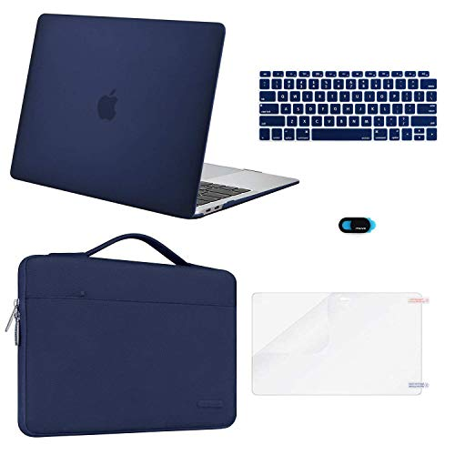 MOSISO MacBook Air 13 inch Case 2019 2018 Release A1932 Retina Display, Plastic Hard Shell & Sleeve Bag & Keyboard Cover & Webcam Cover & Screen Protector Compatible with MacBook Air 13, Navy Blue (Best Macbook Air Case 2019)