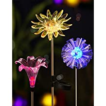 BRIGHT ZEAL [Set of 3] LED Color Changing Solar Stake Lights Outdoor (Dandelion, Lily, Sunflower) - Solar Light LED Garden Decor Statues - Patio Lights LED Outdoor Multicolor Changing LED Lights