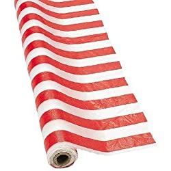 Fun Express SYNCHKG028647 Red and White Striped Tablecloth Roll