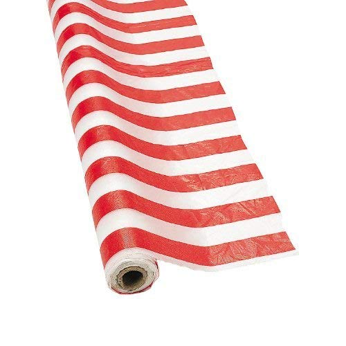 Fun Express SYNCHKG028647 Red and White Striped Tablecloth Roll -