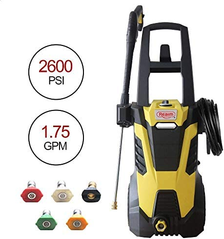 Realm 2600PSI 1.75GMP 14.5AMP Electric Pressure Washer with Brushless Induction Motor,Spray Gun,5 Spray Tips,Built in Soap Dispenser Extra Low Sound Power Efficiency 55lbs, Yellow Black