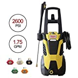 Realm BY02-BIMK 2600PSI 1.75GMP 14.5AMP Electric Pressure Washer with Brushless Induction Motor,Spray Gun,5 Spray Tips,Built in Soap Dispenser | Extra Low Sound | Power Efficiency 55lbs, Yellow Black