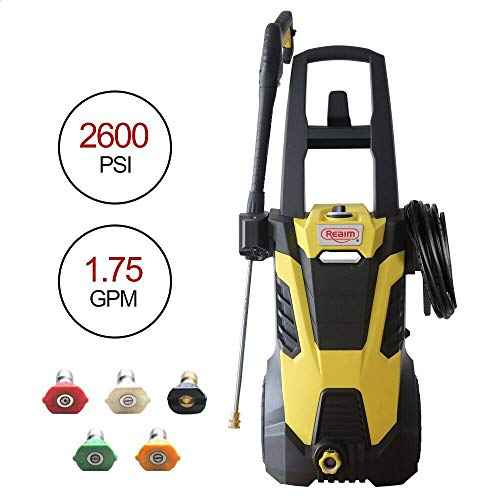 Realm BY02-BIMK 2600PSI 1.75GMP 14.5AMP Electric Pressure Washer with Brushless Induction Motor,Spray Gun,5 Spray Tips,Built in Soap Dispenser | Extra Low Sound | Power Efficiency 55lbs, Yellow Black (High Power Brushless Motor)