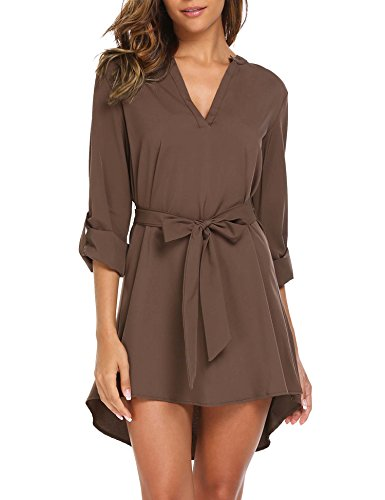SE MIU Women Long Sleeve/Cuffed Sleeve V Neck Tunic Shirt, Dark Brown, - Se Booty