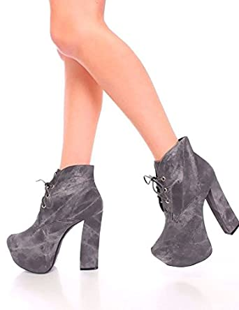 9df39aac51f NEW Black Gray Lace Up Tie Platform Ankle Booties Wedges Pumps High Heels  8.5(8