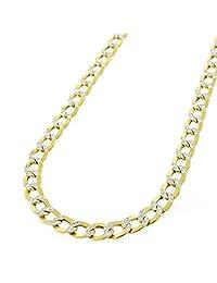 Cadena de oro amarillo macizo de 14 quilates de 3,8 mm con dos tonos de corte de diamante y cierre de pinza de langosta