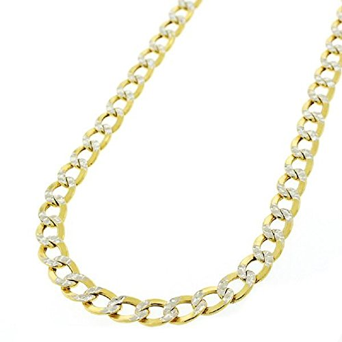 - 14K Solid Yellow Gold 3.8mm Two Tone Cuban Curb Diamond Cut Pave Chain Necklace -Lobster Claw Clasp-24