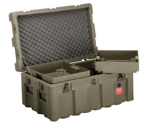Loadmaster Military Footlocker Case with Casters, Removable Trays, Lockable Hinged Lid, from ECS Case, Olive Drab ()