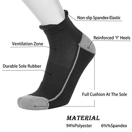 COOVAN Mens Athletic Ankle Quarter Running Socks 6 Pack Men Low Cut Hiking Cushioned Breathable Double Tab Sock by COOVAN (Image #1)