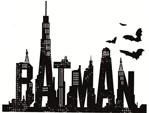 5 Inch Batman Cityscape Text Decal Bat Man Symbol Dark Knight DC Comics Repositionable Removable Peel Self Stick Wall Sticker Art Home Decor (Decoration for Walls Laptop Yeti Boys Room) -