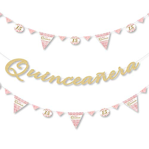 Mis Quince Anos - Birthday Party Letter Banner Decoration - 36 Banner Cutouts and No-Mess Real Gold Glitter Happy Birthday Banner Letters]()