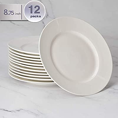 amHomel 12-Piece White Porcelain Dinner Plate Set, 8.75 Inches Dessert Serving Plate for Restaurant,Kitchen and Family Party Use - 12 Pieces Solid White 8.75-Inch dinner plates amHomel Porcelain Round Plates set Features a Fundamental, Compact style design with Elegant white finish will showcase a beautiful table setting to any occasion. Our set includes 12 plates. It would be a great choice for family meals and casual gatherings Made of NON-TOXIC premium porcelain, They are LEAD-FREE, FDA APPROVED, high-quality dinner plate set offer reliable strength and durability - kitchen-tabletop, kitchen-dining-room, dinnerware-sets - 41b6KDnwb9L. SS400  -
