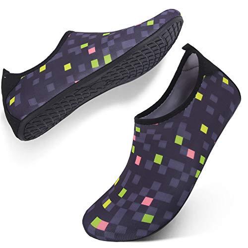 - FEETCITY Mens Swim Shoe Womens Fitness Shoes Barefoot Water Footwear Sneakers Plaid Black S(W:5.5-6.5,M:4-5)