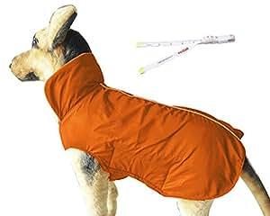PetCee Winter Dog Coat Waterproof Fleece Dog Jacket (Orange,XL)