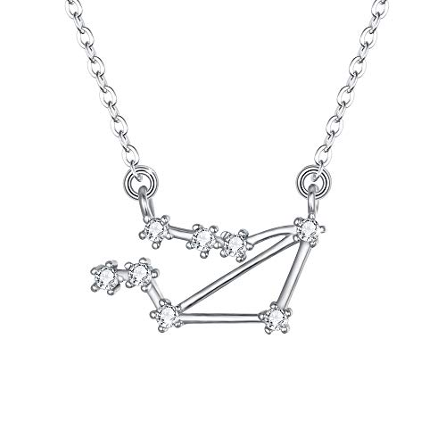 Zodiac Sign Pendant - BriLove 925 Sterling Silver Necklace for Women - Libra Constellation Necklace Zodiac 12 Horoscope Astrology CZ Pendant Necklace Birthday Gift Clear