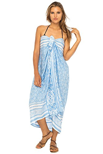 - Back From Bali Womens Beach Dress Sarong Bikini Swimsuit Cover Up Wrap with Easy Built-in Ties Blue