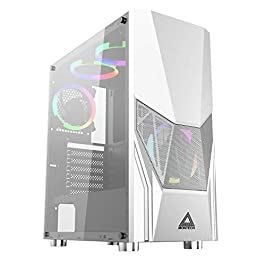 Montech Fighter 500 White ATX Mid-Tower Computer Gaming Case/Pre-Installed Four Rainbow LED Fans, High-Airflow, Mesh 3D…