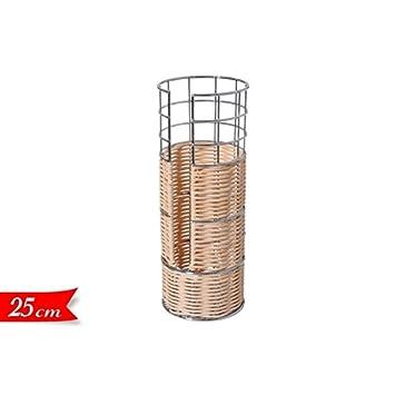takestop portabicchieri Porta vasos individual de metal y ratán Mimbre 1 Compartimentos Vaso Contenedor Shabby Chic Utensilios Cocina: Amazon.es: ...