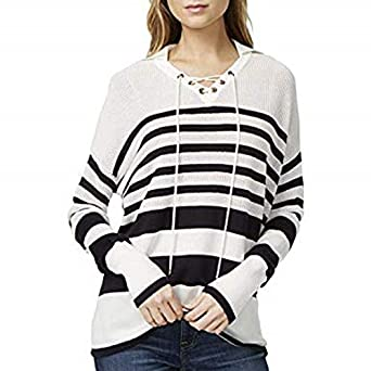 4f51116a Tommy Hilfiger Women Striped Lace up Pullover Sweater: Amazon.ae ...