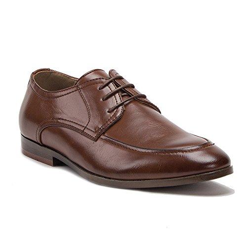 Nouveau Cuir Doublé Bout Rond À Lacets Oxford Robe Chaussures Marron