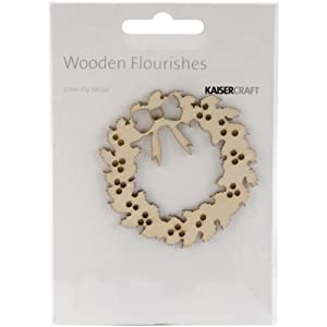 Kaisercraft FL462 Laser Cut Wood Flourish, Wreath 9