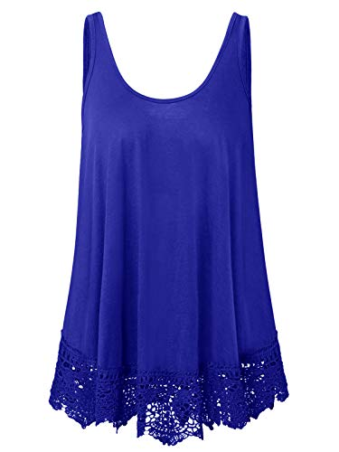 Plus Size Swing Lace Flowy Tank Top for Women (1X, Royal Blue)