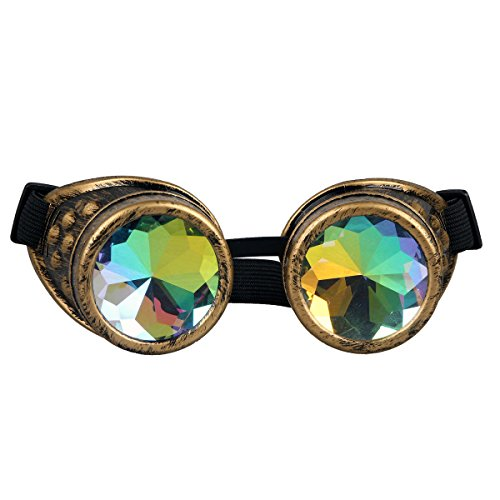 (Lelinta Steampunk Rave Glasses Goggles with Rainbow Crystal Glass Lens,Brass,Adjustable )