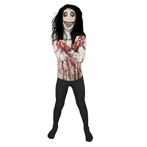 Morphsuits Jeff The Killer Urban Legends Kids Costume, Black/White - size Large 4'-4'6 (120cm-137cm)