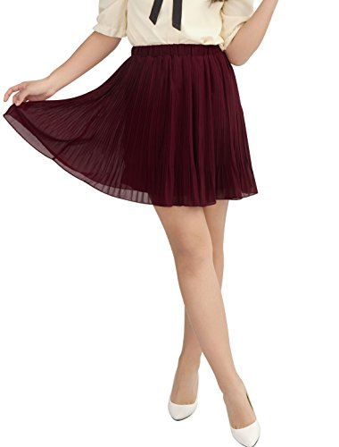 Allegra K Women Elastic Waist Chiffon Pleated Skirt Sheer Skirts Burgundy M