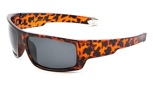 Men Sport Wrap Around Sunglasses Driving Motocycle Sport Golf Eyewear (Polarized-Tortoise/Smoke, - Mar Z87 Costa Del
