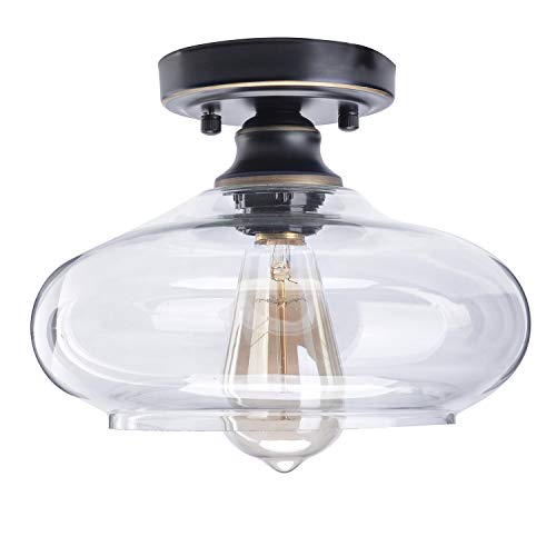 Large Ceiling Pendant - HMVPL Modern Close to Ceiling Lamp, Glass Semi Flush Mounted Pendant Ceiling Lighting Fixtures Industrial Edison Light for Kitchen Island Dining Room Foyer Hallway Entryway Farmhouse