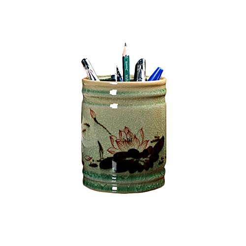 DEI QI Chinese Style Hand-Painted Ceramic Pen Holder Decoration, Chinese Study, Office Desktop Decoration, Hand-Carved, high-end Crafts, 3.7inch3.7inch4.7inch - Finely Hand Painted Ceramic