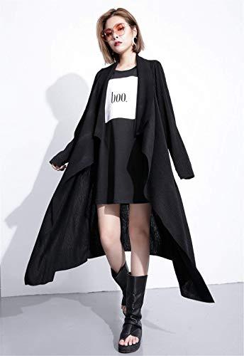 A A Maglia Donna Primaverile Comodo Manica Sciolto Outwear Lunga Fashion Giacca Casual Cappotto A A Eleganti Aperto Calda Maglia Vintage Schwarz Lunga Forcella Irregular Autunno Cardigan wqz0dBw