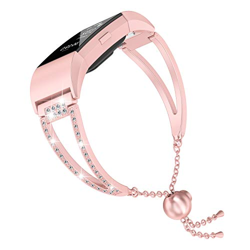 Moolia Compatible with Fitbit Charge 2 Bands for Women, Bling Jewelry Bracelets Adjustable Stainless Steel Metal Bands Small Bangle Straps Pink Gold ()